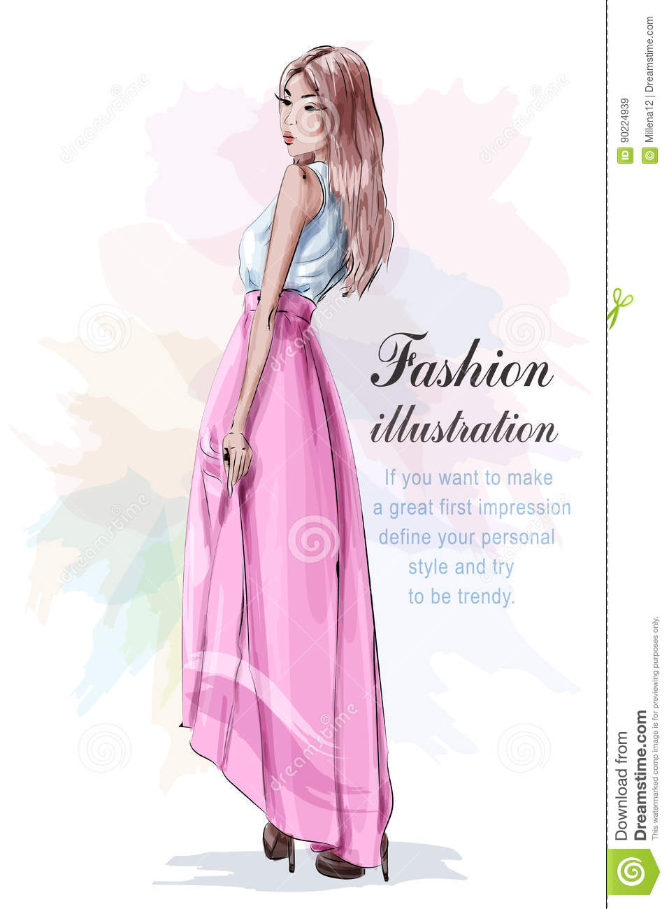 Beautiful woman in fashion clothes: blue light shirt, pink skirt and stylish shoes. Sketch. Fashion look.