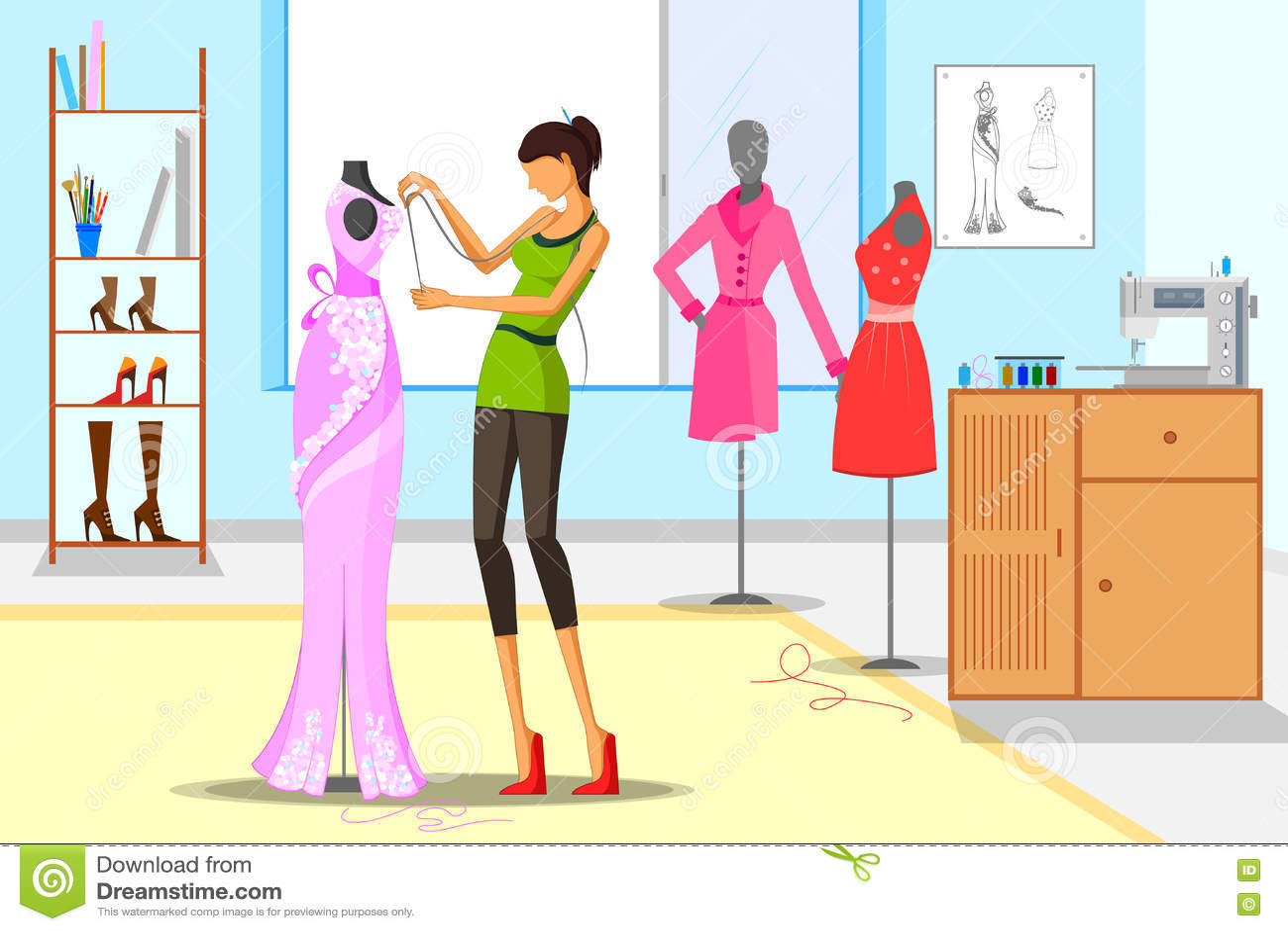 Female Fashion Designer Taking Measurement Stock Photo ...