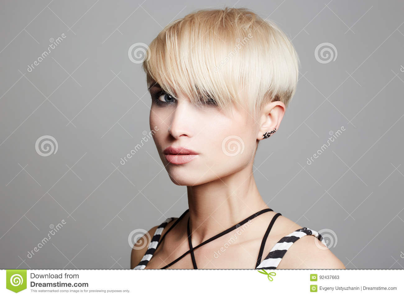 Beautiful Woman With Fashion Short Haircut Stock Image Image Of