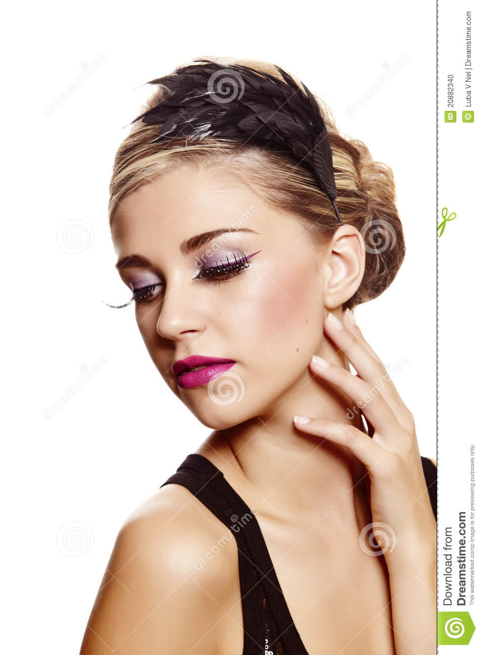 Beautiful Woman With Feather Hair Band Stock Photo Image