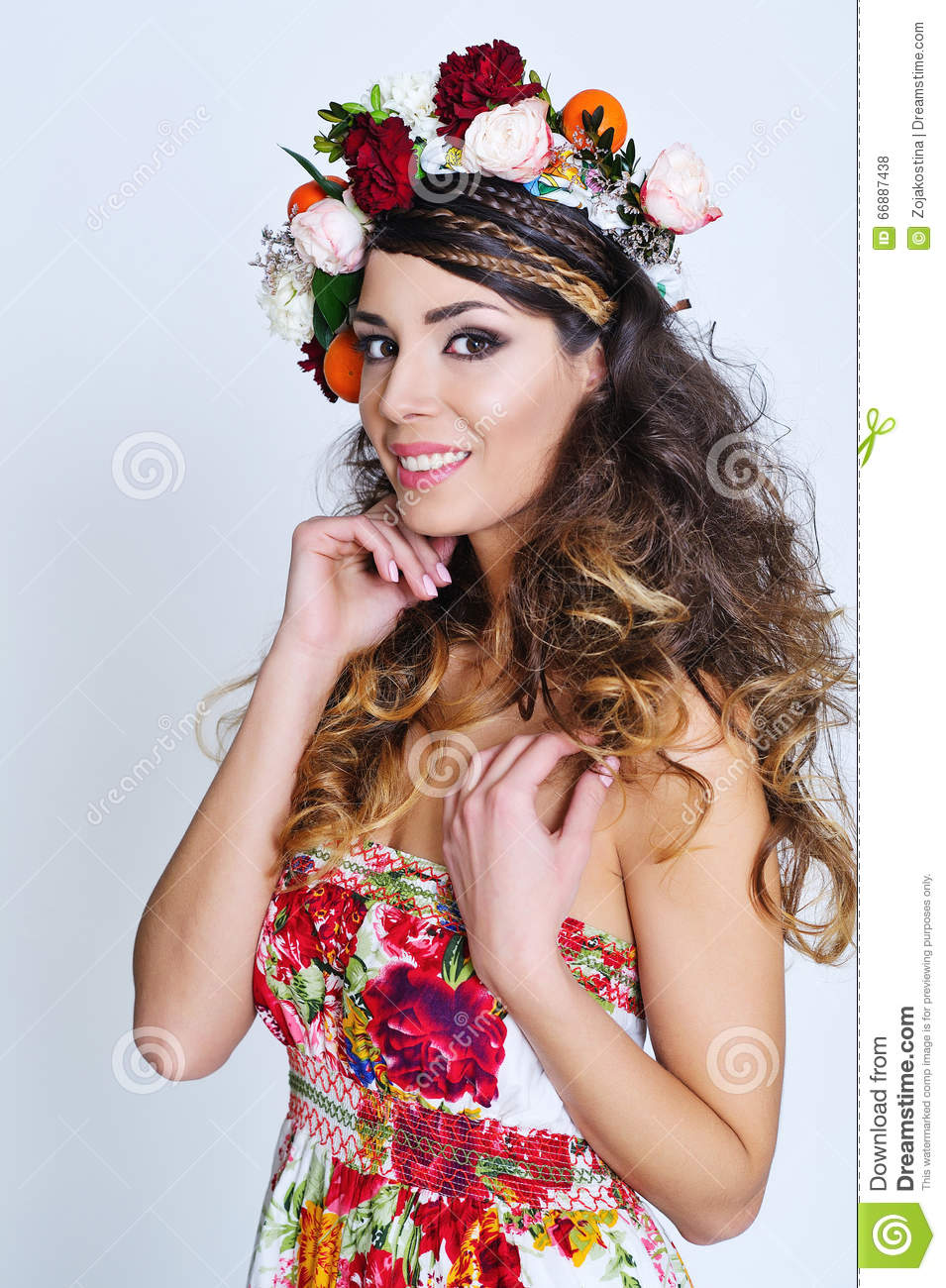 Beautiful Woman In Flower Crown Stock Photo Image Of Hippie