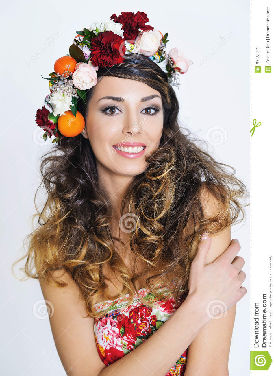 Beautiful Woman In Flower Crown Stock Image Image Of Hippie Hair