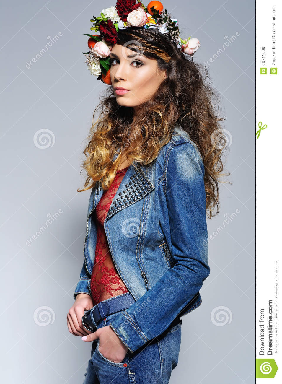 Beautiful Woman In Flower Crown Stock Photo Image Of Beauty