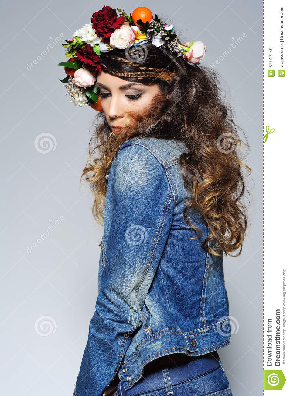 Beautiful Woman In Flower Crown Stock Image Image Of Ethnic