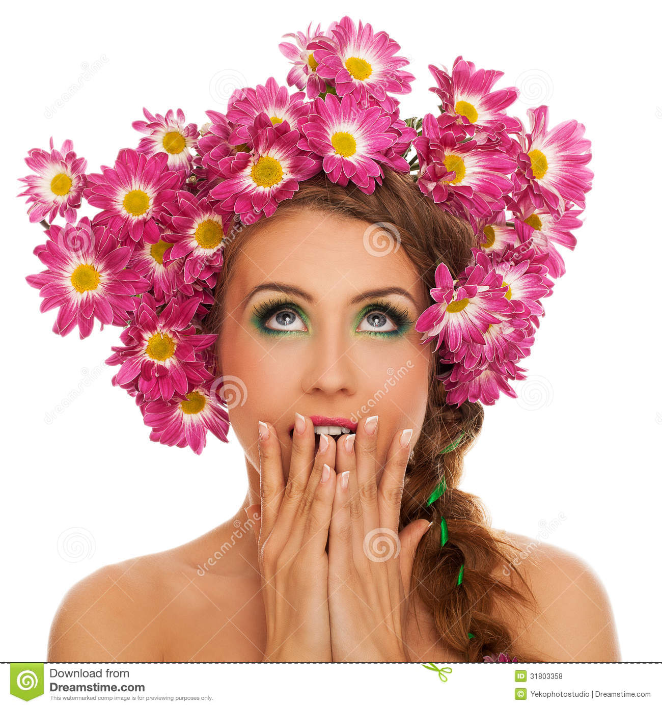 Beautiful woman with flowers in hair royalty free stock photos background beautiful caucasian hair white woman dhlflorist Gallery