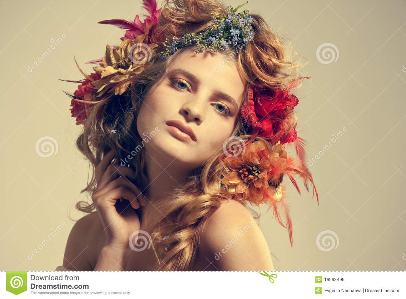 Beautiful woman with flowers in her hair royalty free stock images beautiful flowers hair portrait stylized summer woman dhlflorist Gallery