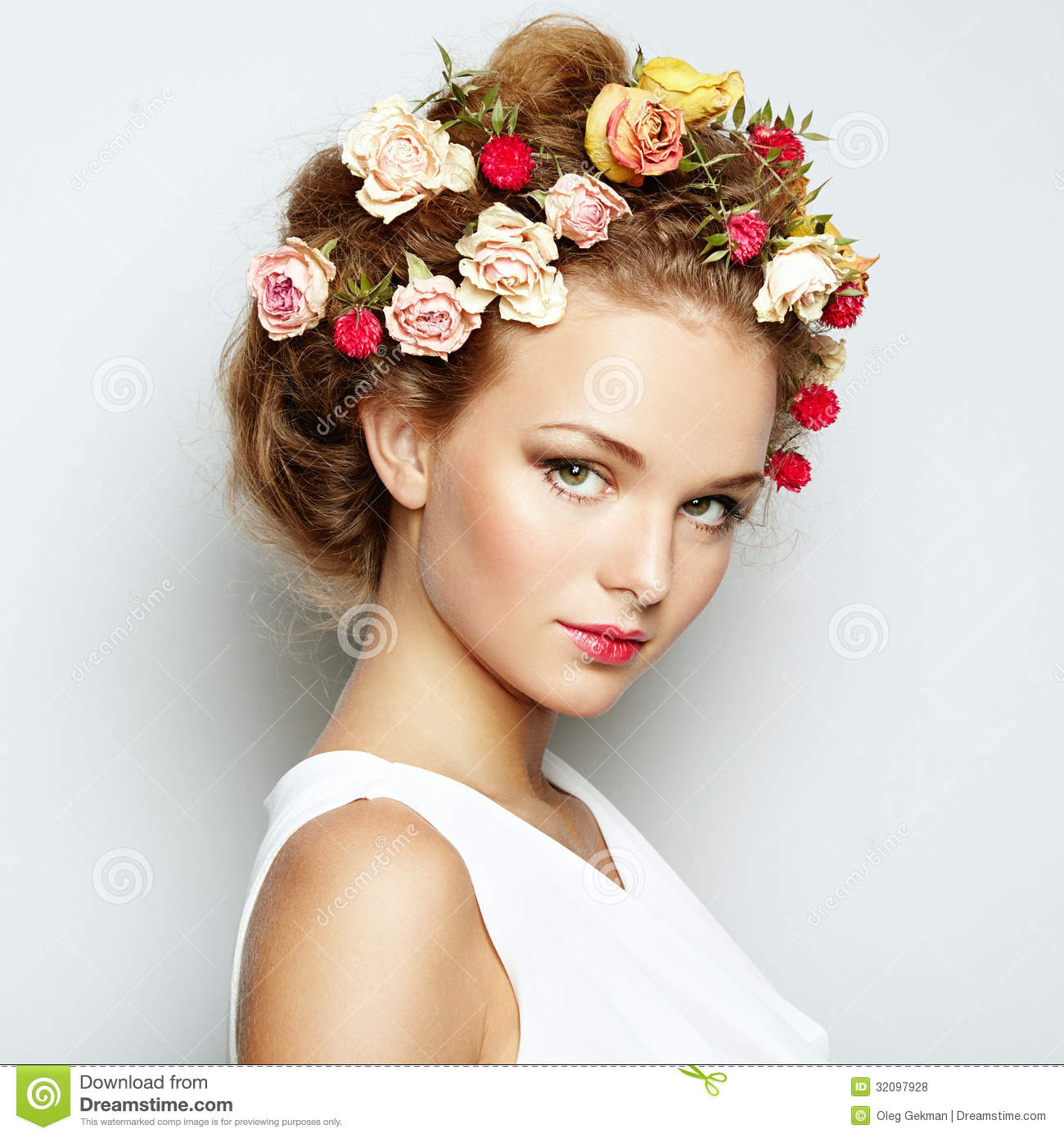 Beautiful woman with flowers perfect face skin beauty portrait beautiful beauty fashion portrait woman dhlflorist Gallery