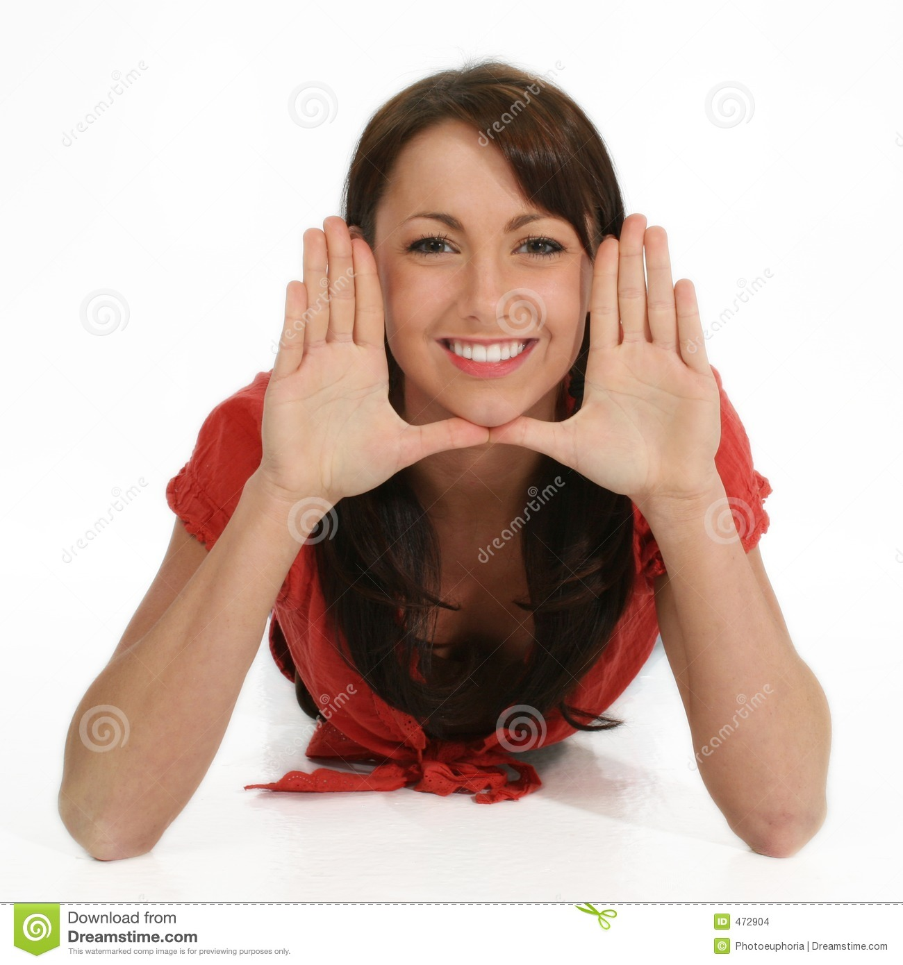 Beautiful Woman Framing Face with Hands