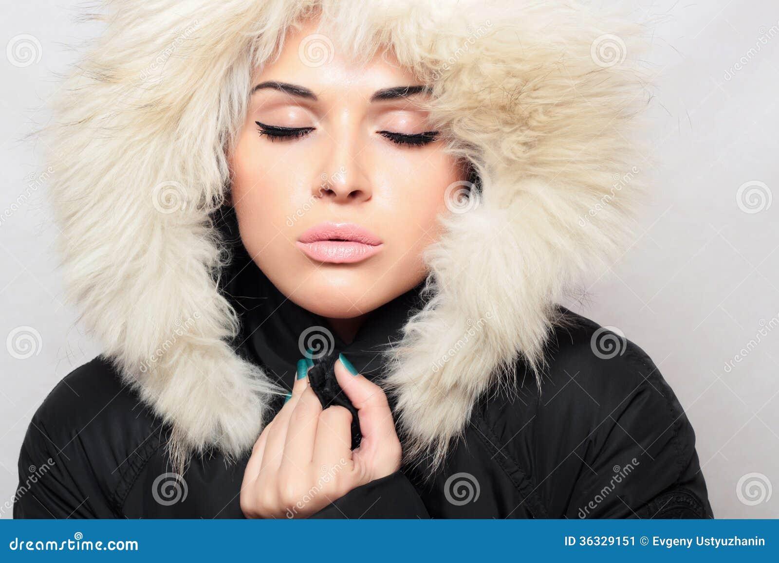 Beautiful Woman In Fur.winter Style.fashion Beauty Girl