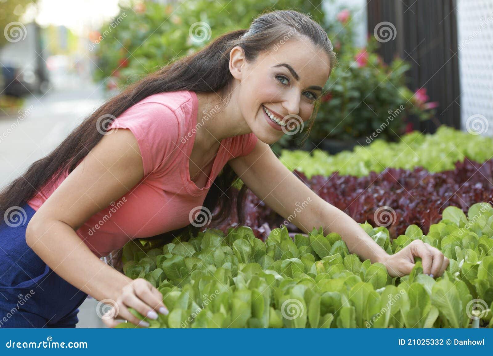 Beautiful Woman At Garden Shop Stock Photography Image