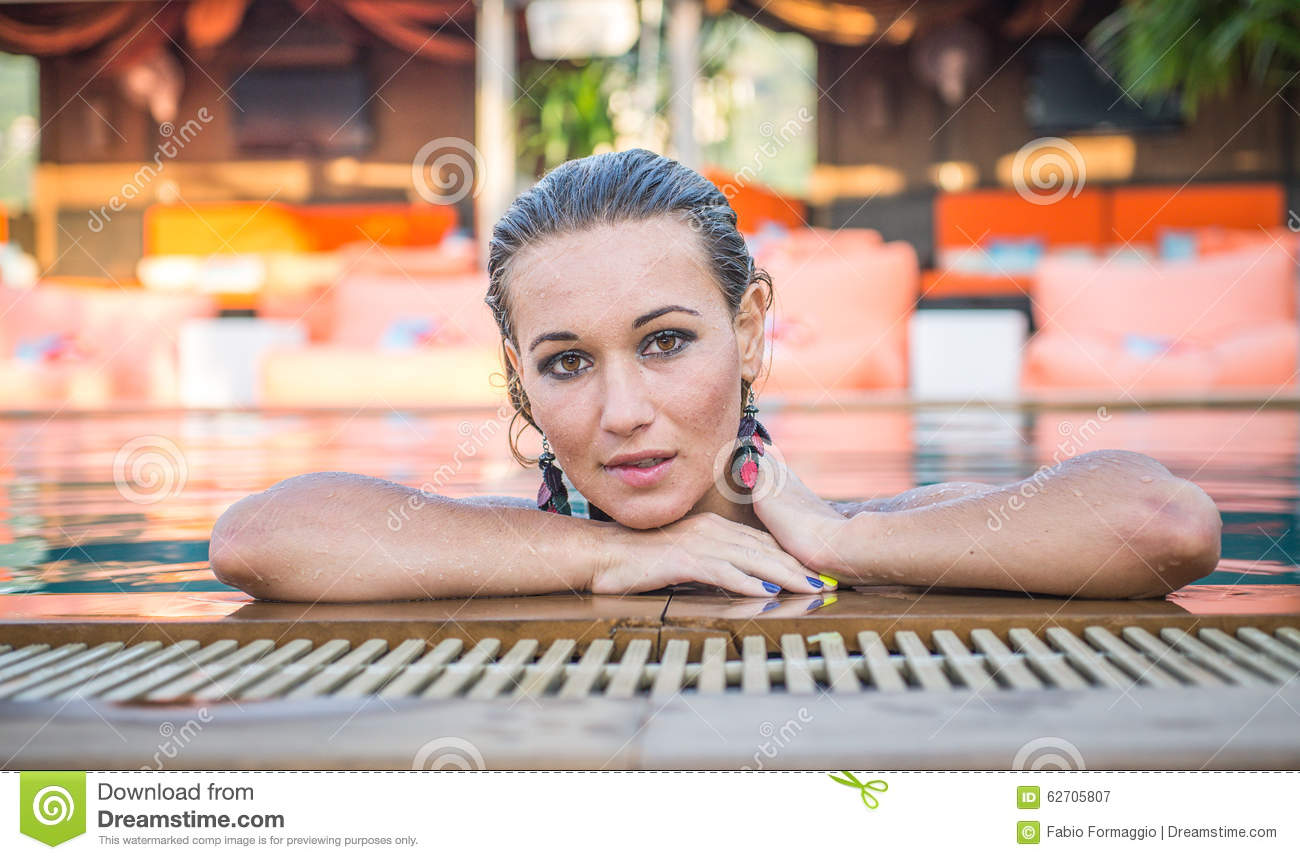 Beautiful Woman Getting Out The Pool Stock Photo Image 62705807