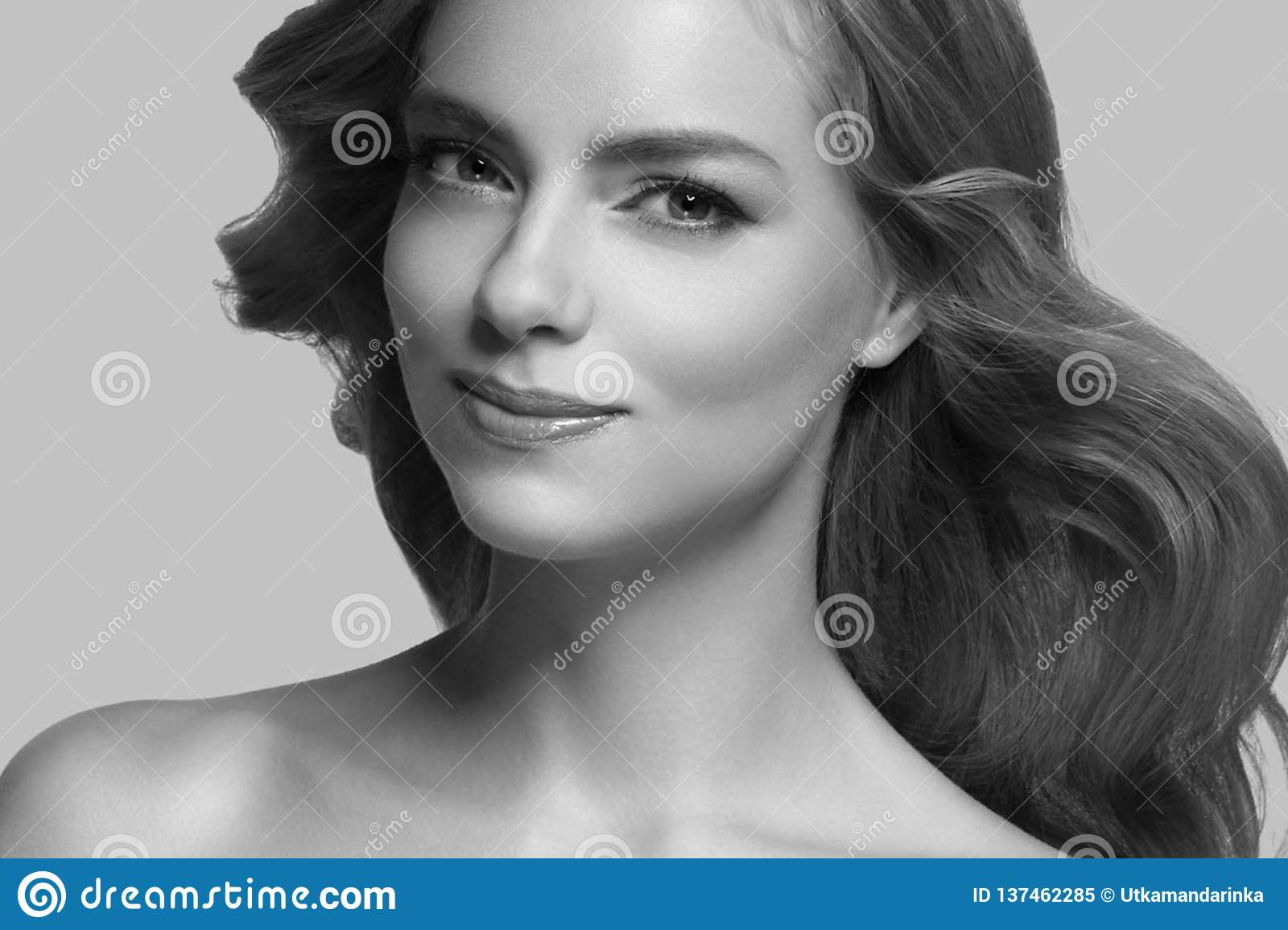 Beautiful Woman Girl Model blonde hair on summer pink trendy color background