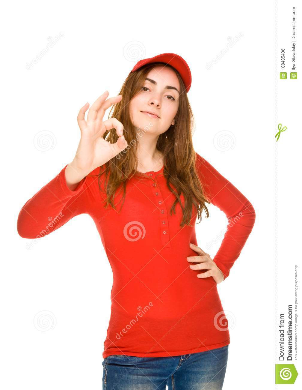 Business Woman Giving The OK Sign Royalty Free Stock Image