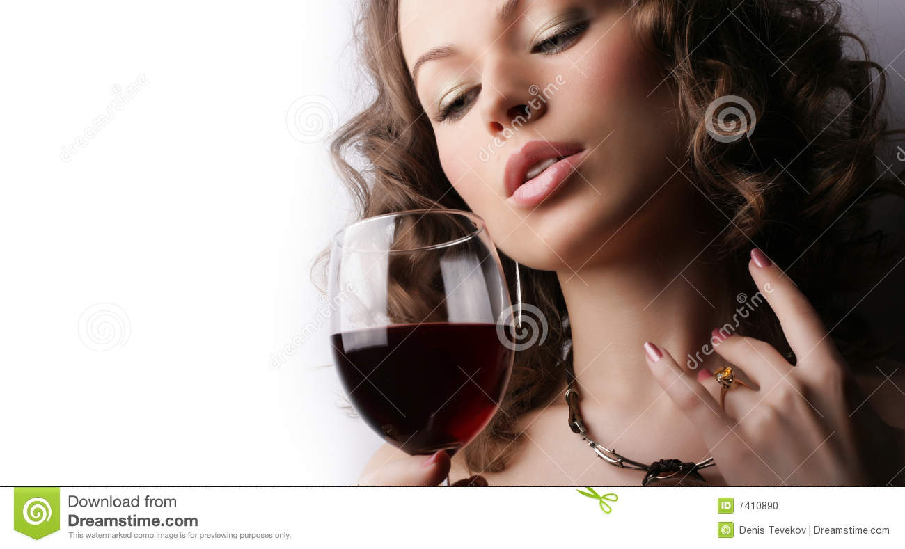 Beautiful woman with glass red wine stock photo image of