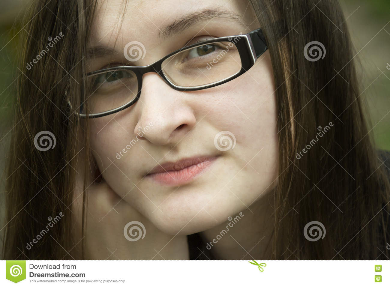 785b033b8b01 Beautiful Woman In Glasses Portrait. Office Woman Thinks About S ...