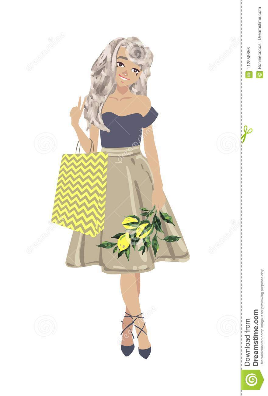 b20488e29 Beautiful woman go shopping with bags and feeling happiness on white  background. Cute vector cartoon female character. More similar stock  illustrations