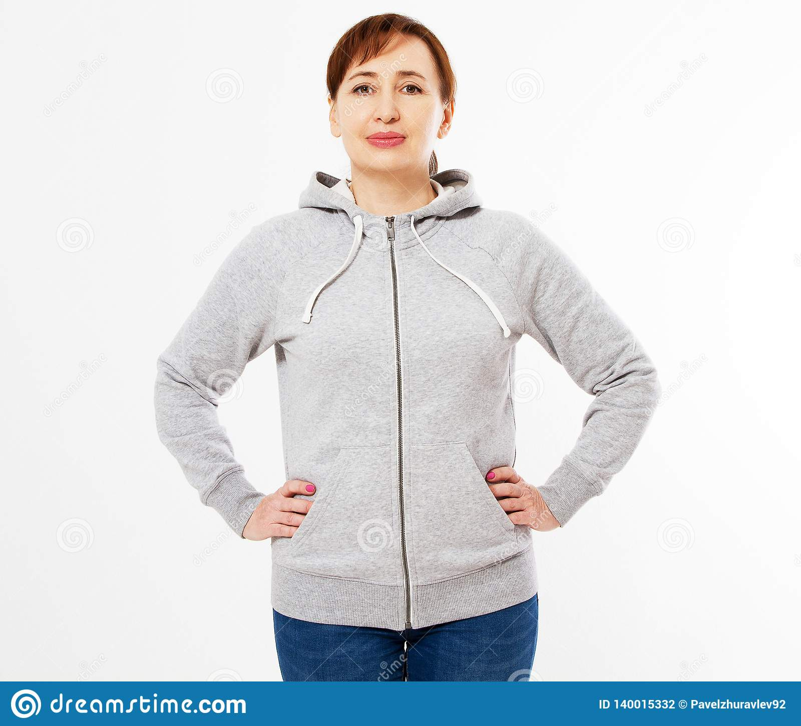 640f53b0266 Beautiful woman Gray pullover hoodie mockup, Woman in gray hoodie, template  for your own design, girl wearing blank grey hoodie on white background .
