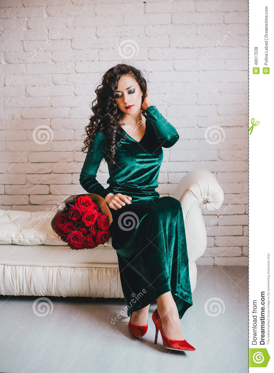 beautiful in a green dress and shoes with