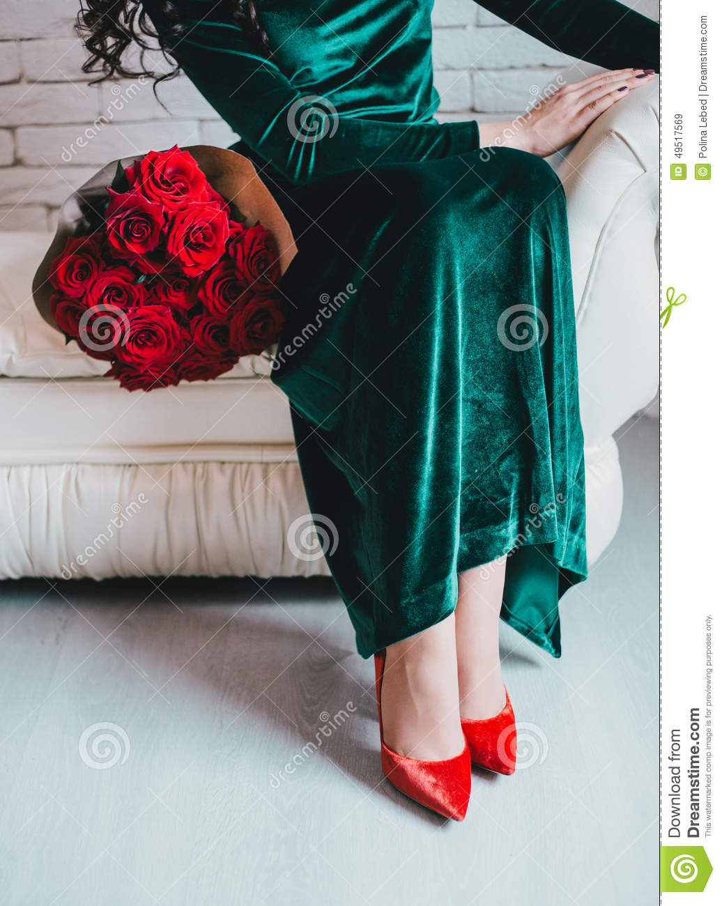 Beautiful Woman In A Green Dress And