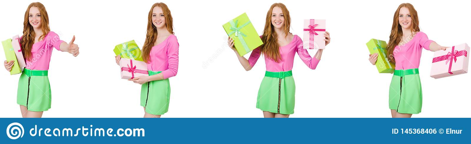 The beautiful woman in green skirt with giftbox