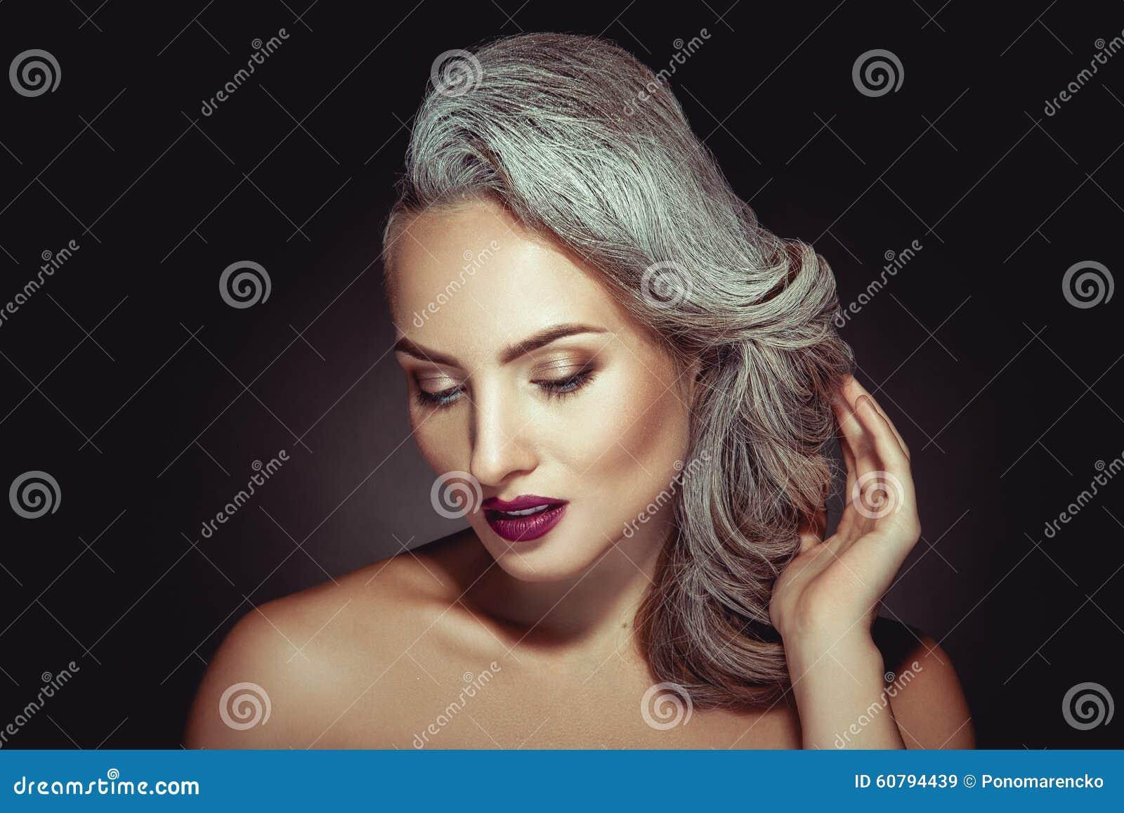 Beautiful Woman With Grey Hair Color And Nice Makeup Stock Image