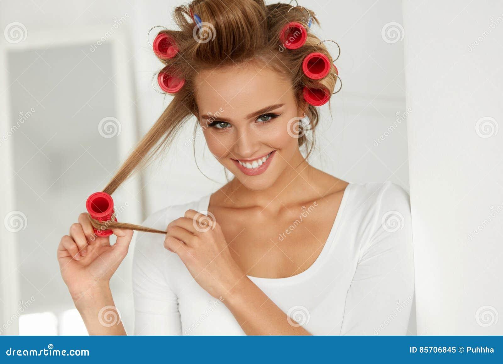 Hair Rollers Woman Hairstyle Hair Curlers Royalty Free