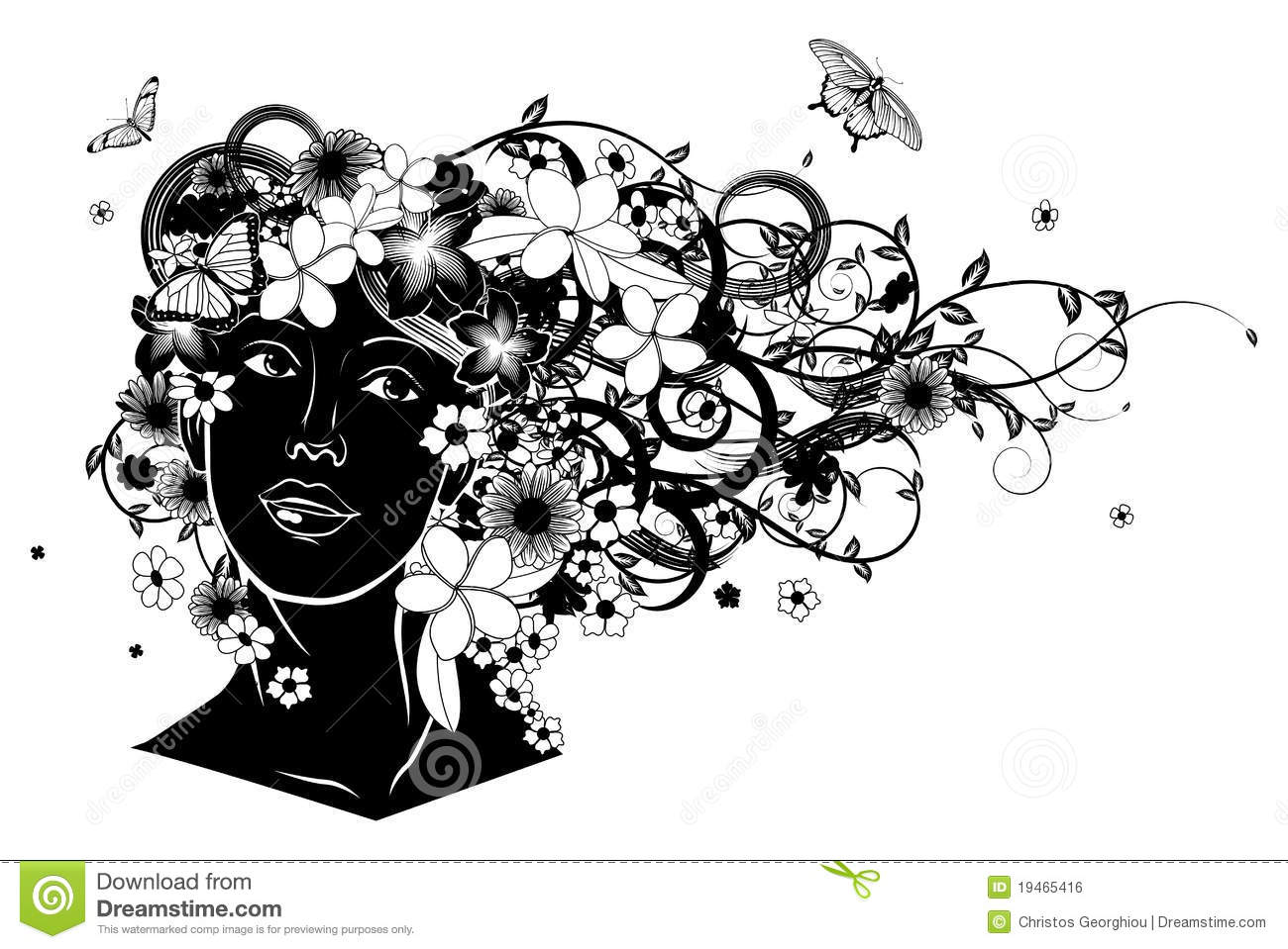 Beautiful Woman With Hair Made Of Flowers Royalty Free ...