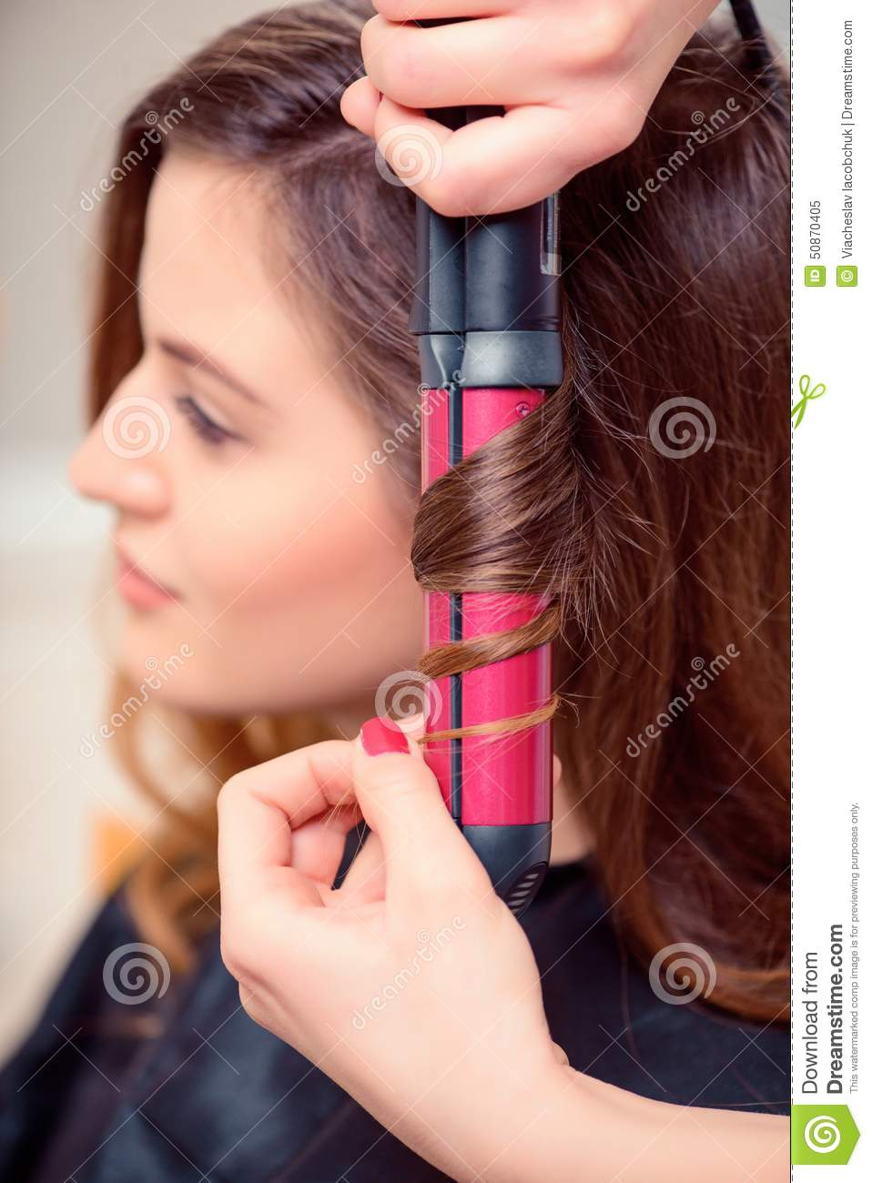 beautiful woman in hair salon stock image image of