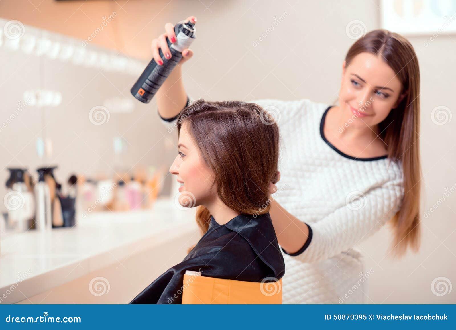 Beautiful Woman In Hair Salon Stock Photo Image 50870395