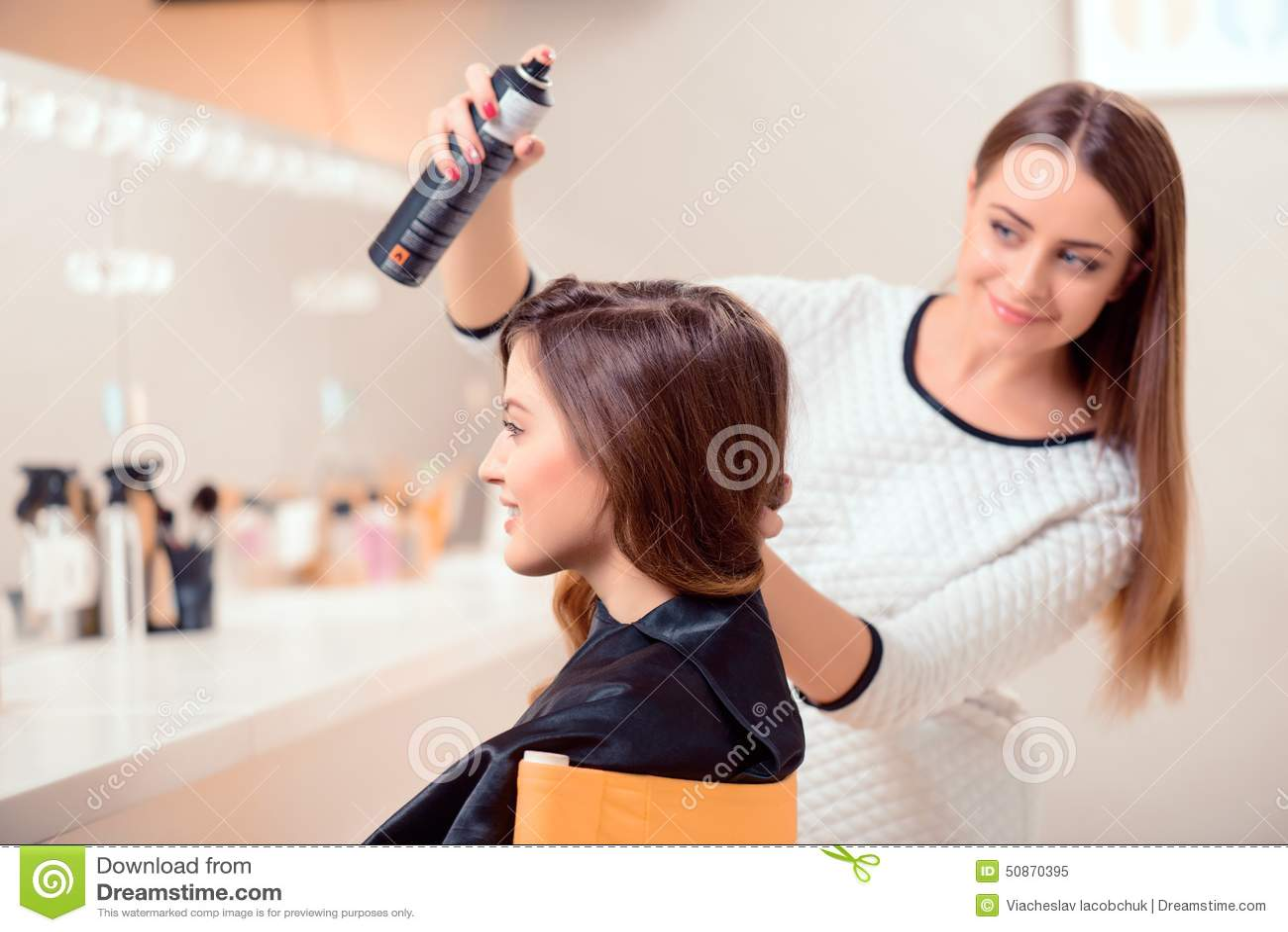 Beautiful woman in hair salon stock image image 50870395 for A beautiful you salon