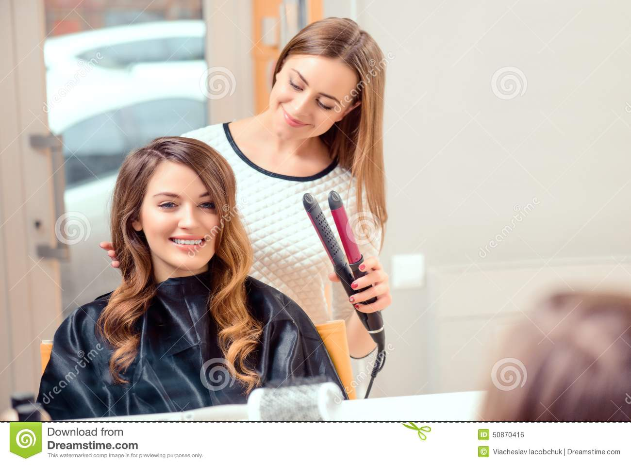 Beautiful woman in hair salon stock photo image 50870416 for A beautiful you salon