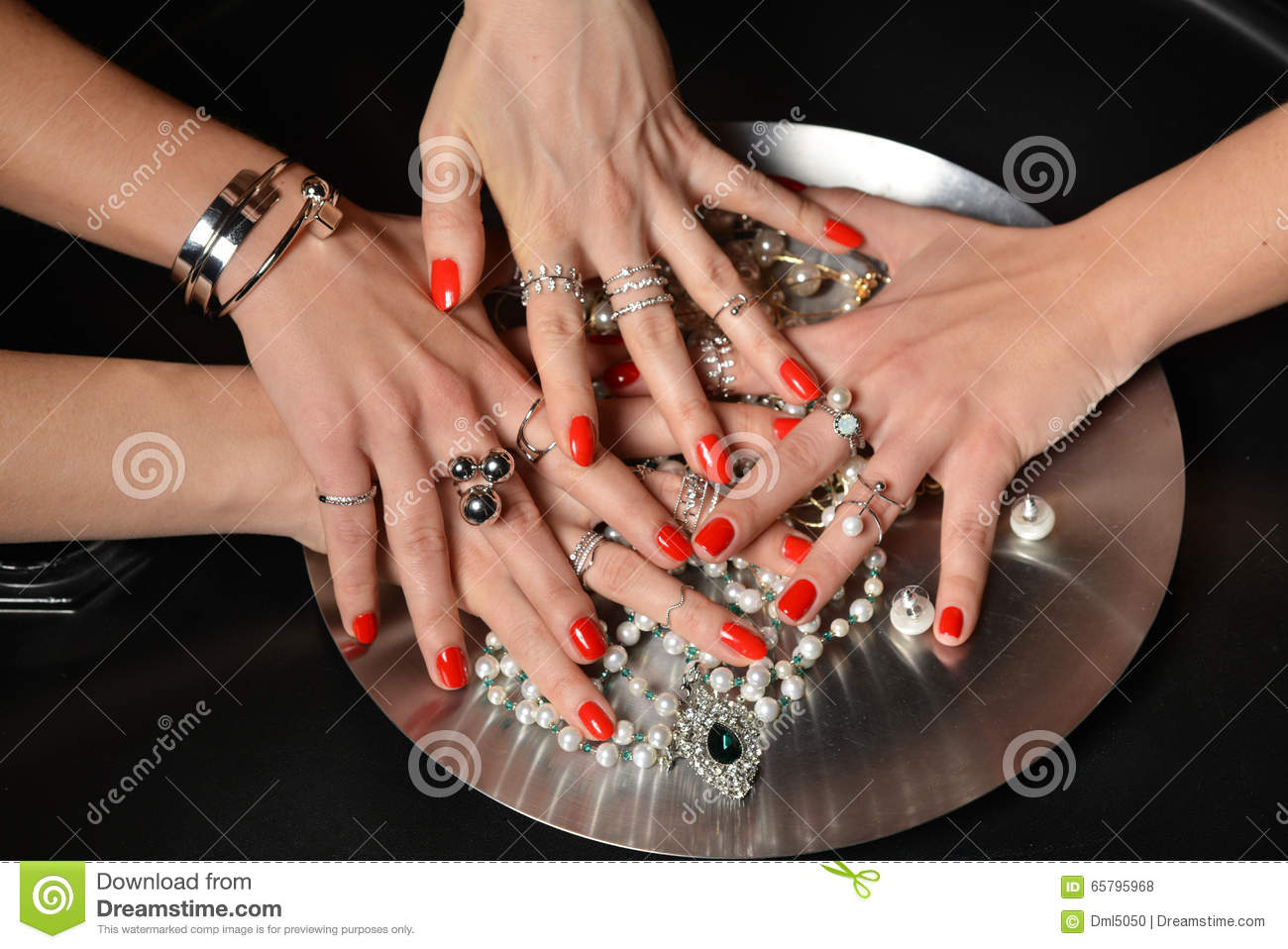 Beautiful Woman Hands With Red Pattern Polish Manicured Nails An ...