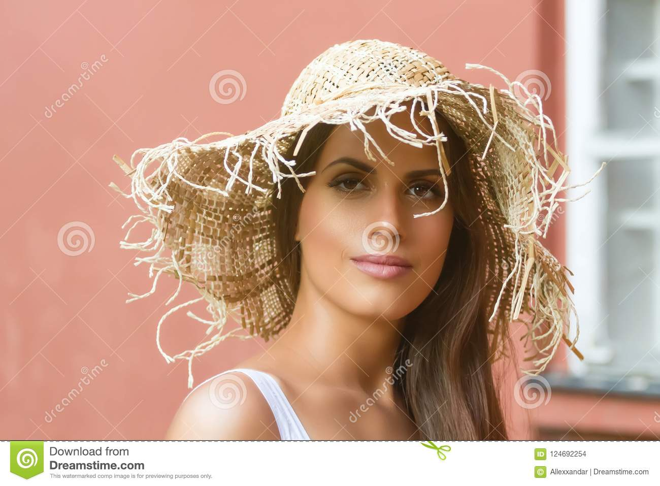 Beautiful Woman In Hat Summer Day Outdoors Fashion And