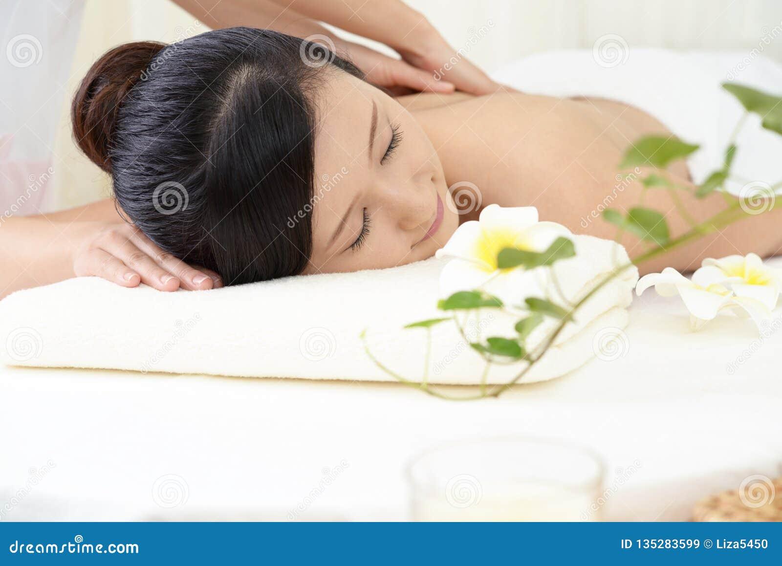 Woman Receives Body Massage At Spa Salon Stock Image ...