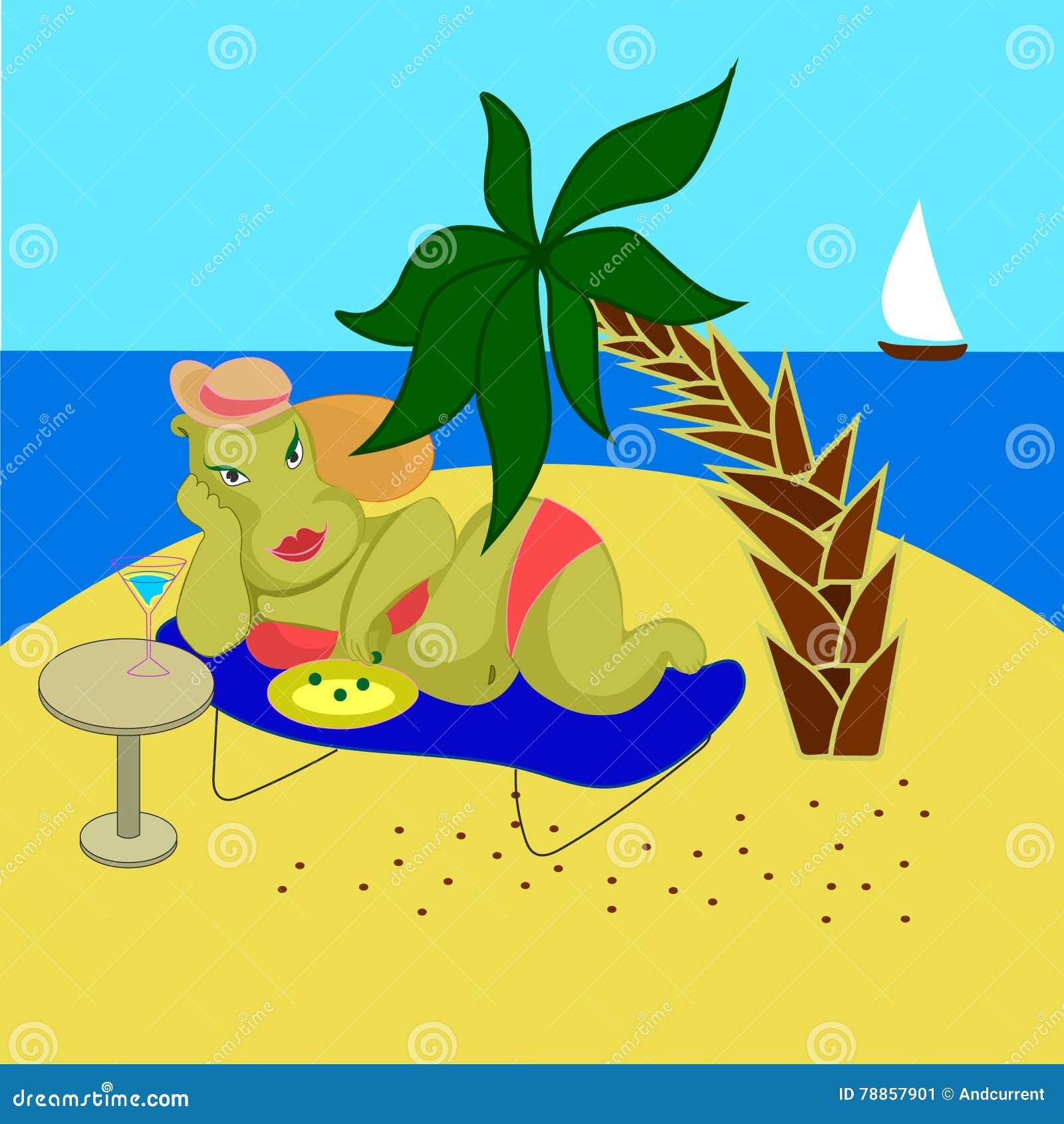 Beautiful Woman Hippo In Bikini On A Sea Sandy Beach