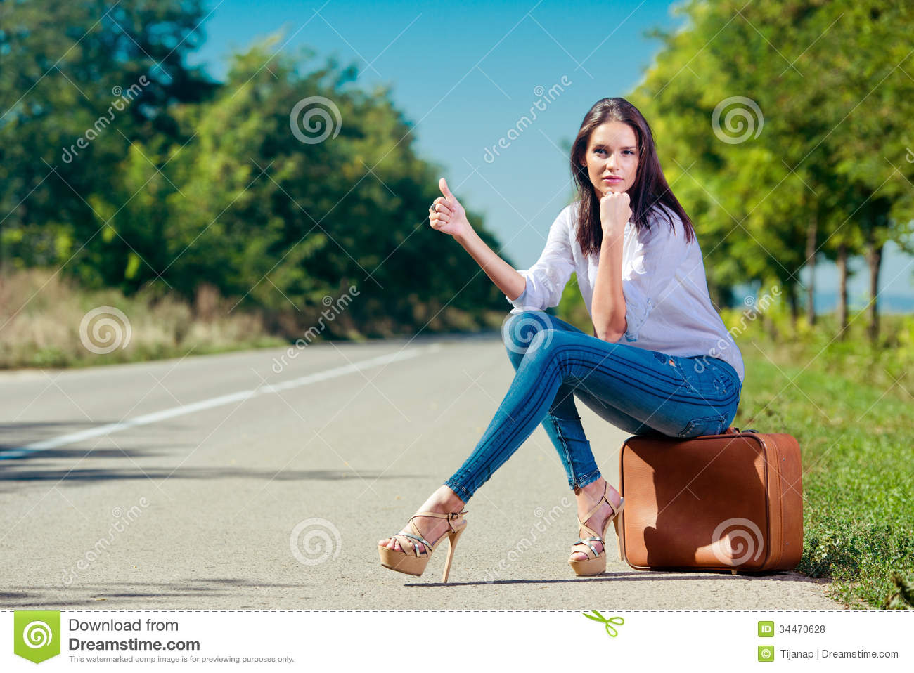Beautiful Woman Hitchhiking Royalty Free Stock Photos - Image ...