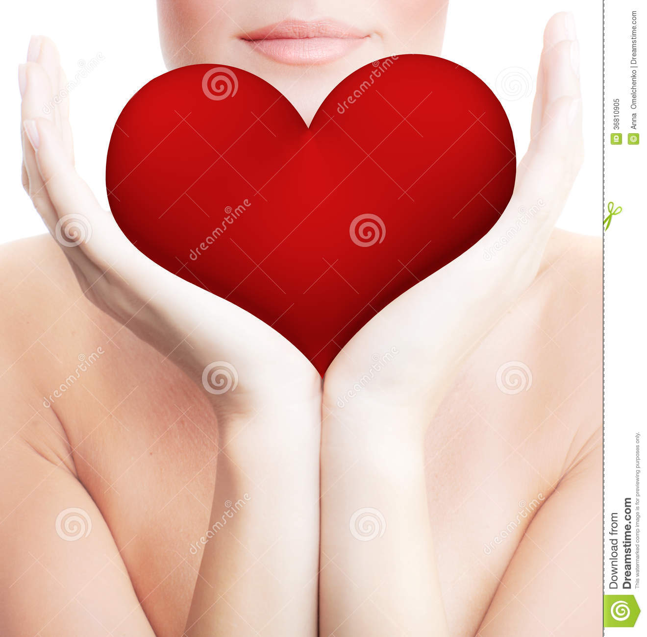 Beautiful Woman Holding Big Red Heart Stock Image - Image of hand ...