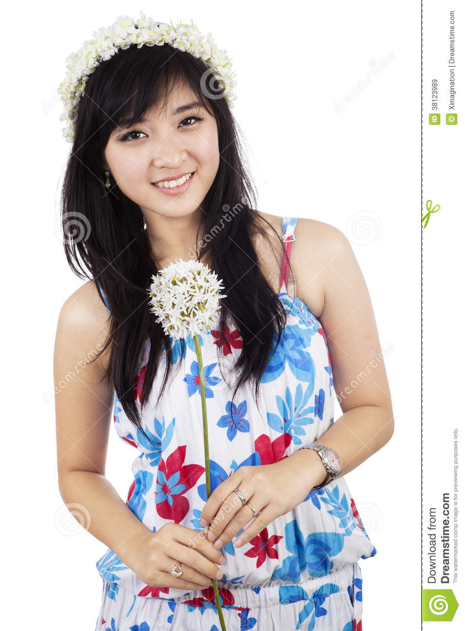 Beautiful woman holding flower isolated