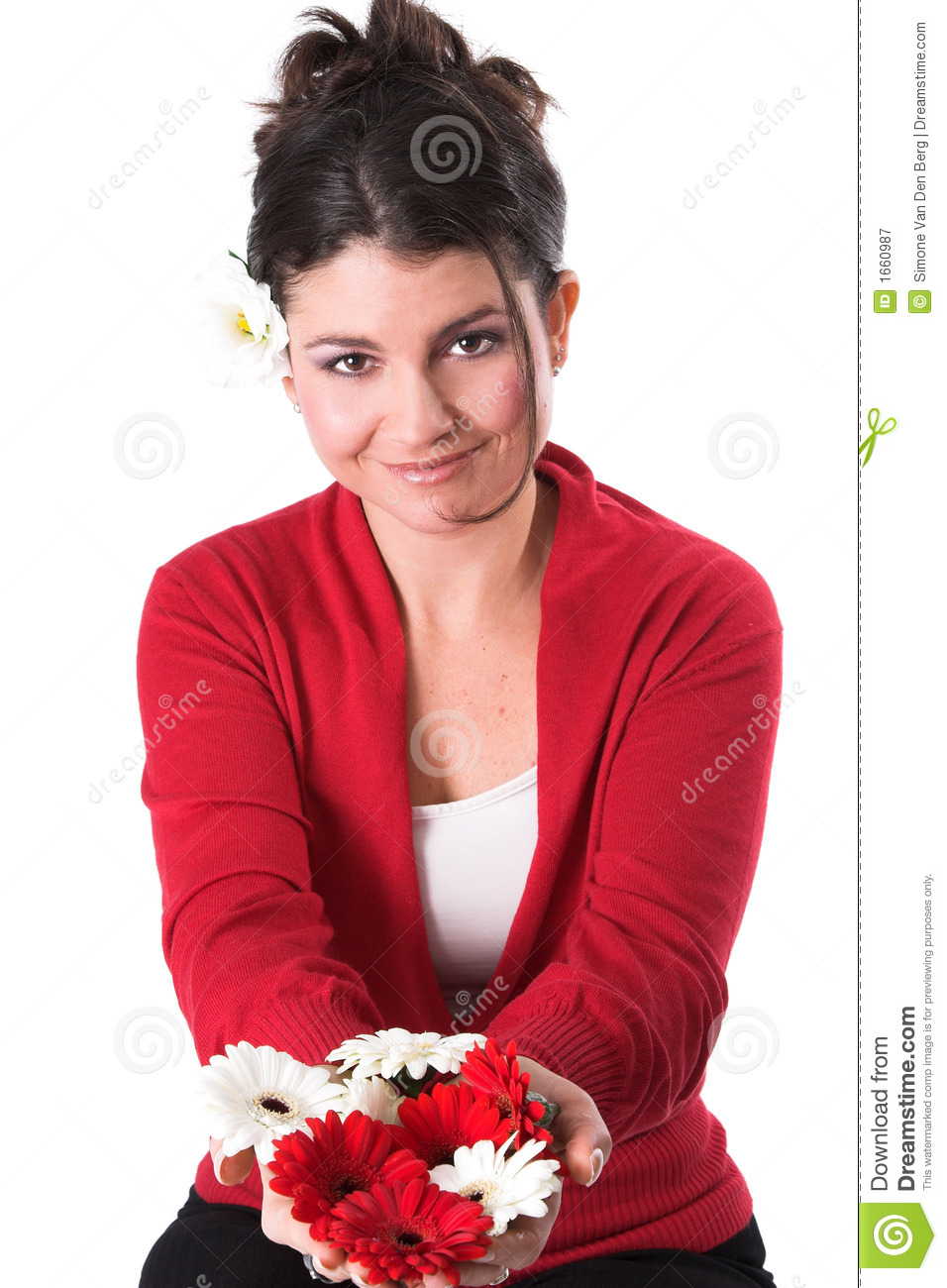 Beautiful Woman Holding Flowers Royalty Free Stock ...