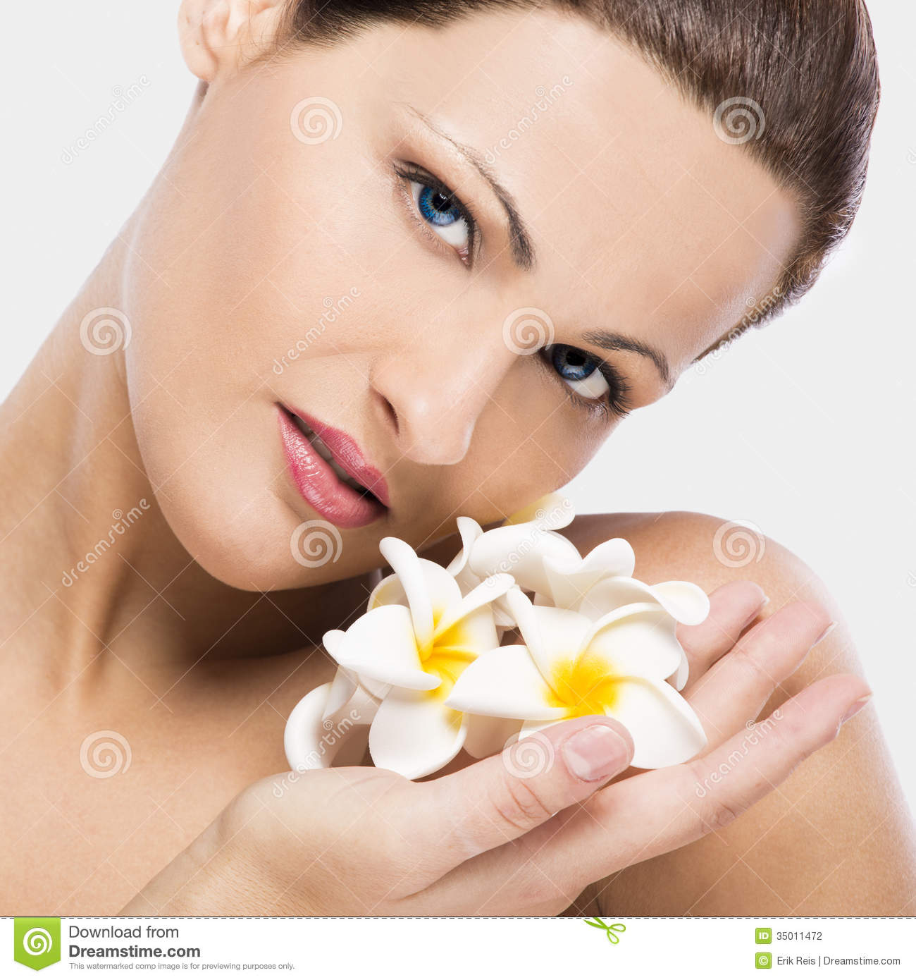 Beautiful Woman Holding Flowers Stock Photography - Image ...