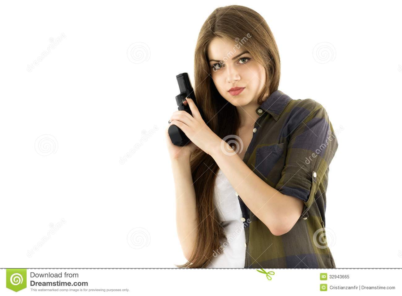 Beautiful Woman Holding A Gun On White Background Royalty ...