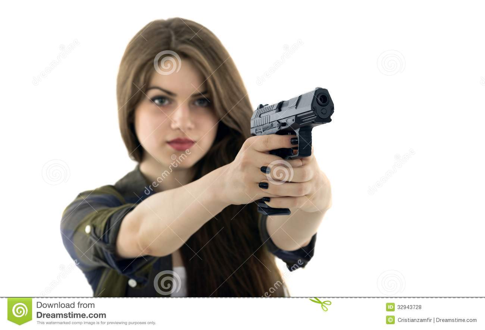 beautiful sexy girl holding gun Stock photo and royalty
