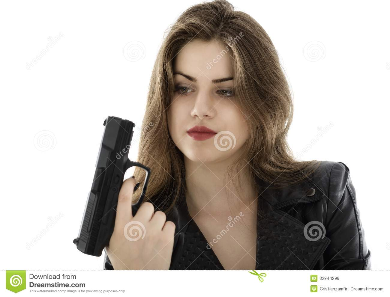 Beautiful Woman Holding A Gun On White Background Stock ...