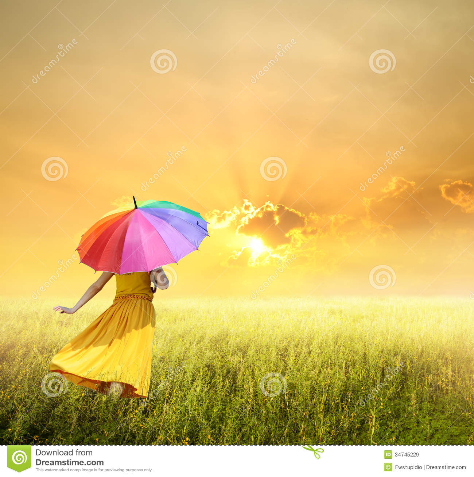 Beautiful Woman Holding Multicolored Umbrella In Green -5110