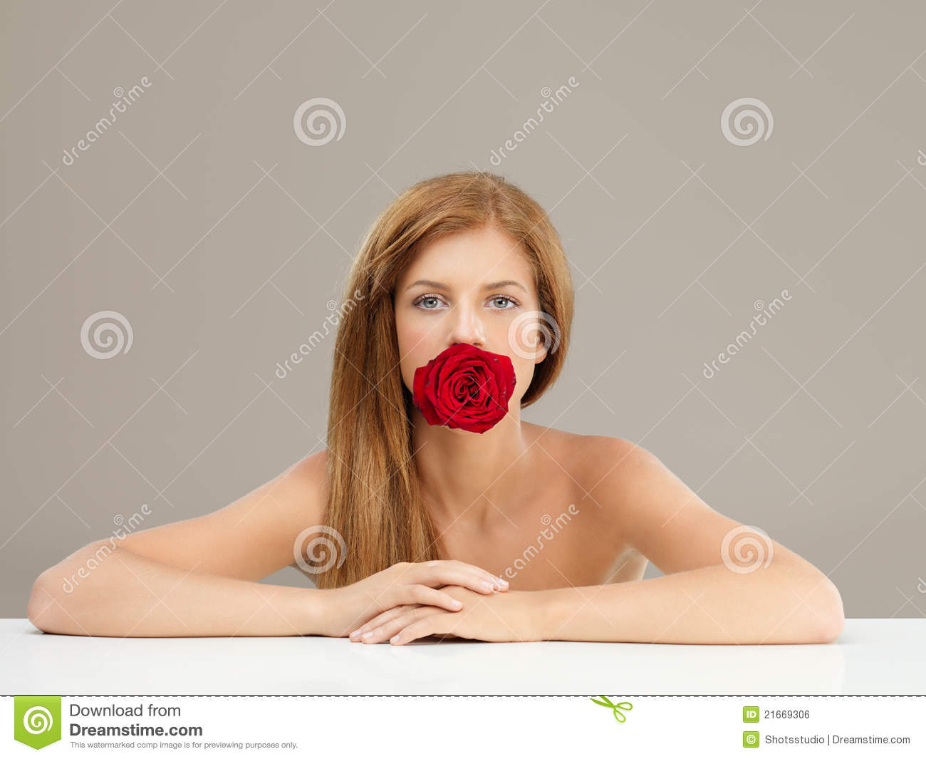 Beautiful Girl Holding Fashion Beauty Magazine Stock Image: Beautiful Woman Holding Red Rose In Mouth Stock Photo