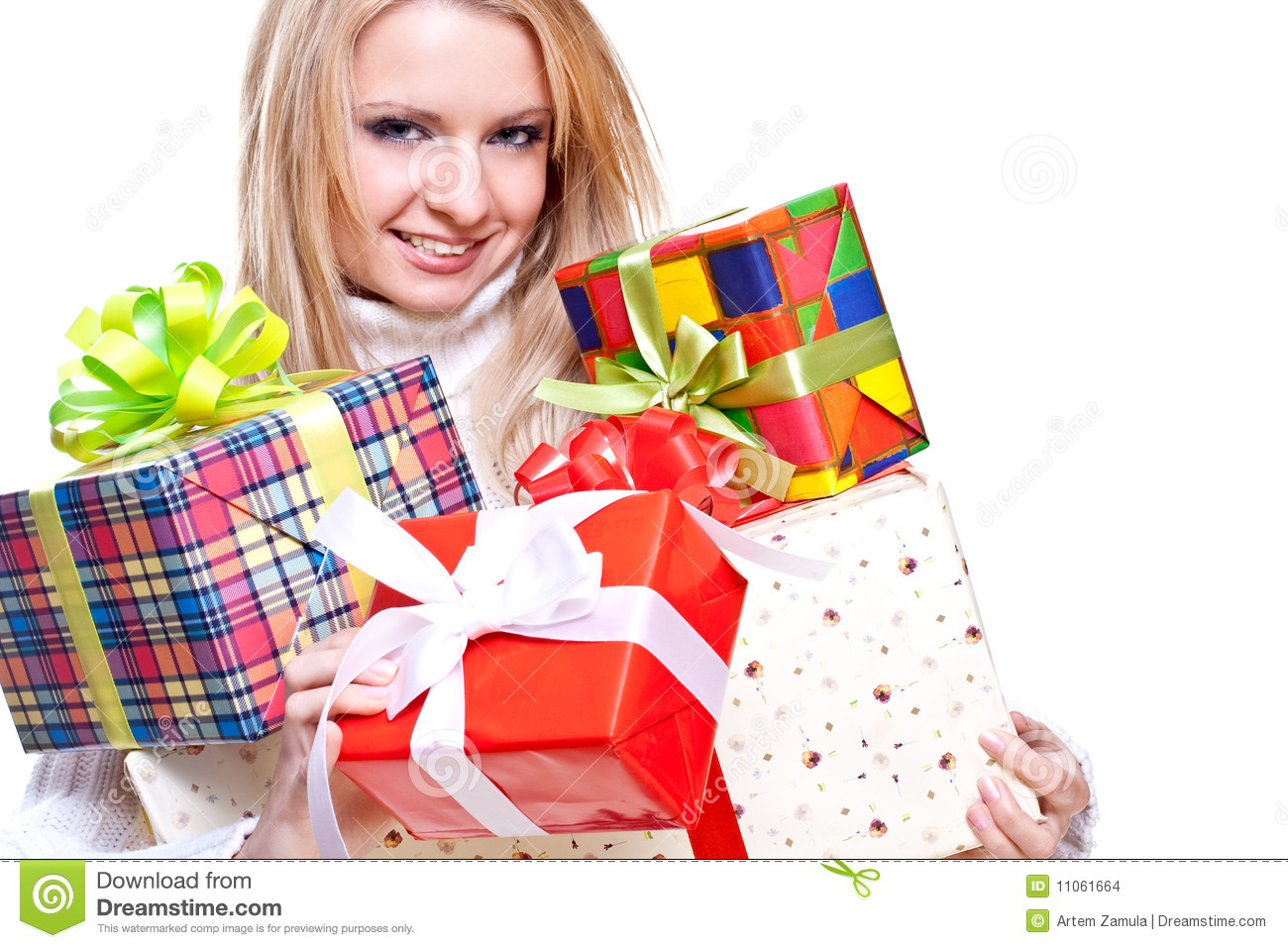 Beautiful Woman With Holiday Gift Stock Images Image