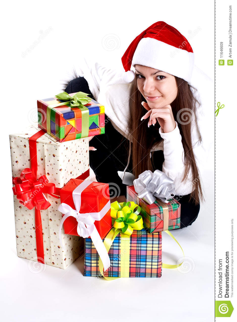 Beautiful Woman With Holiday Gift Royalty Free Stock
