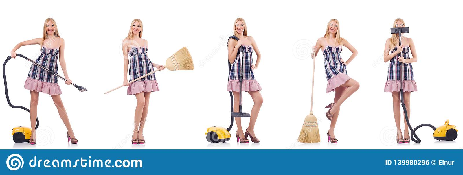 The beautiful woman in housecleaning concept
