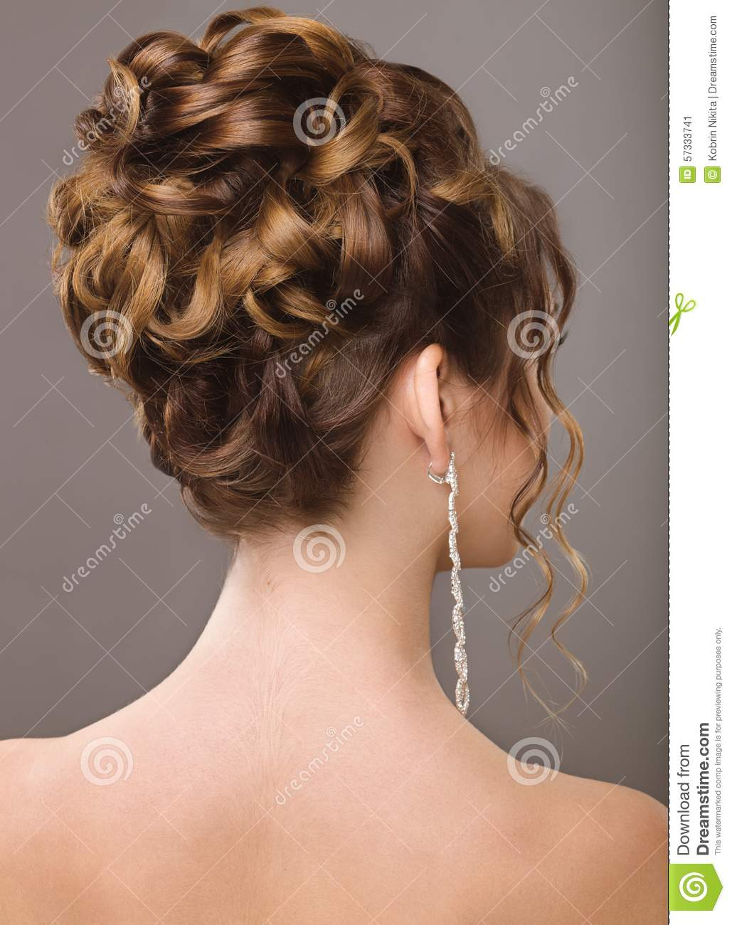 Beautiful Woman In Image Of The Bride Beauty Hair Hairstyle Back