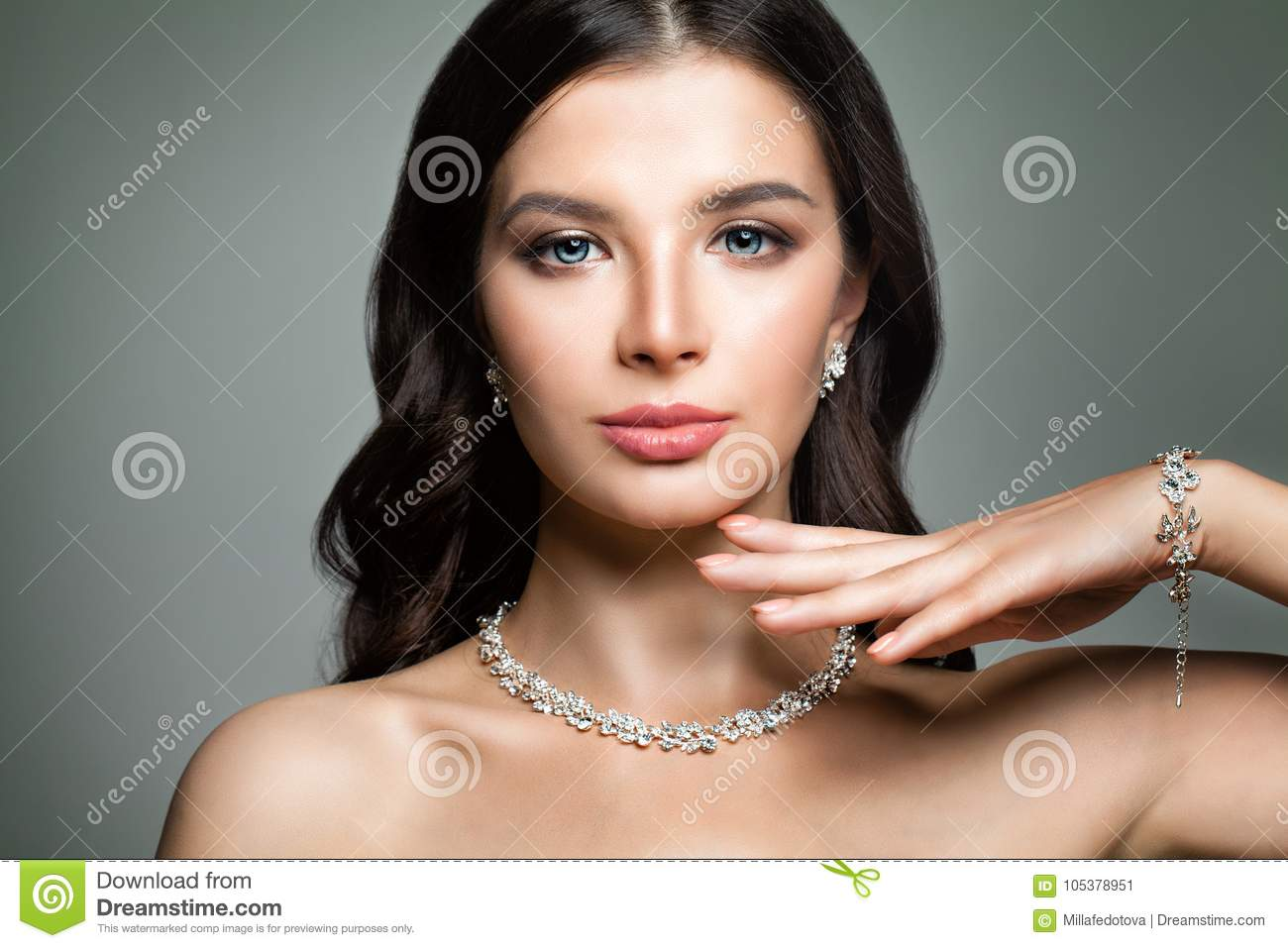 Beautiful Woman with Jewelry Diamond Necklace